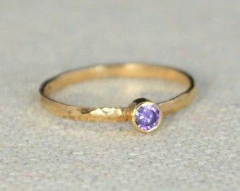 Classic Rose Gold Filled Amethyst Ring, Solitaire, Solitaire Ring, Rose Gold Filled, February Birthstone, Mothers Ring, Gold Band
