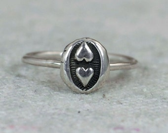 Two Heart Ring, 2 Heart Ring, Dual Heart Ring, Double Heart Ring, Bohemian Ring, Silver Ring, Sterling Ring, Gypsy Ring, Hippie Ring, BOHO