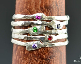 Grab 5-Thin Freeform Mother's Rings, Birthstone Ring, Stacking Rings, Silver Birthstone Rings, Mother's Gemstone Ring, Pure Silver Rings