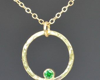 Solid 14k Gold Emerald Necklace, Mothers Necklace, Mom Necklace, May Birthstone Necklace, Emerald Necklace, Mother's Necklace, Emerald