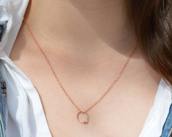 Copper Dew Drop Necklace, Copper Circle Necklace, Dew Drop Necklace, Minimal Necklace, Dainty Necklace, Bohemian Necklace