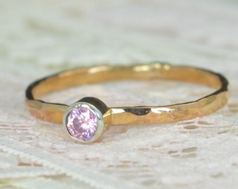 Pink Tourmaline Engagement Ring, 14k Rose Gold, Pink Tourmaline Wedding Ring Set, Rustic Wedding Ring Set,October Birthstone, Solid 14k Ring