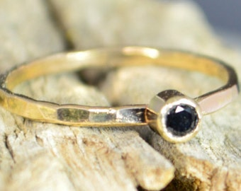 Classic Solid 14k Gold Black Spinel Ring, 3mm gold solitaire, solitaire ring, real gold, Solitiare, Mothers Ring, Solid gold band, gold