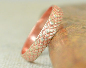 Rose Dragon Scale Ring, Sterling Ring, Rose Snake Scale Ring, Rose Dragon Ring, Rose Snake Ring, Rose Snake Skin Ring, Silver band BOHO