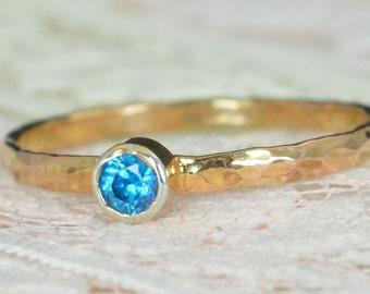 Blue Topaz Engagement Ring, 14k Rose Gold, Blue Topaz Wedding Ring Set, Rustic Wedding Ring Set, December Birthstone, Solid 14k Ring