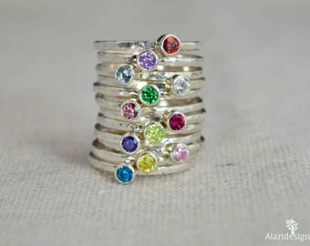 Classic Sterling Silver Birthstone Ring, 3mm Silver solitaire, Solitaire, Silver jewelry, Birthstone, Mothers Ring, Silver band