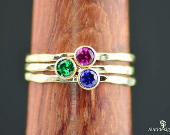 Set of 3 Gold Mother's Rings, Mom Ring, Gold Mothers Rings, Mother's Rings, Gemstone Rings, Grandmas Rings, 3 Gold Rings, Birthstone Rings