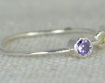 Amethyst Infinity Ring, Silver Knot Ring, Infinity Ring, Amethyst Infinity, February Birthstone, Mother's Ring, Mothers Ring, Amethyst Ring
