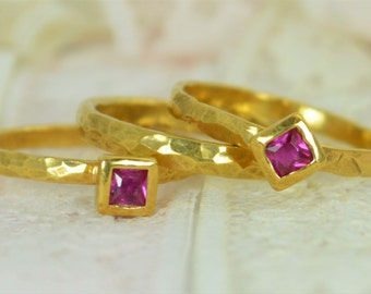Square Ruby Engagement Ring, 14k Gold Filled, Ruby Wedding Ring Set, Rustic Wedding Ring Set, July Birthstone, Solid Gold, Gold Ruby Ring