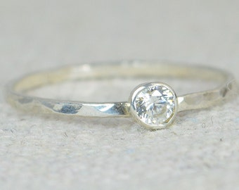 Dainty  CZ Diamond Ring, Thin Mothers Ring, Hammered Silver,Stackable Rings,Mother's Ring, April Birthstone, Skinny Ring, Silver