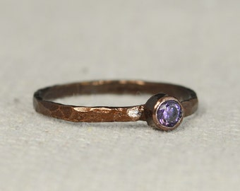 Bronze Copper Amethyst Ring, Classic Size, Stackable Rings, Mothers Ring, February Birthstone, Copper Jewelry, Solitaire, Pure Copper, Band