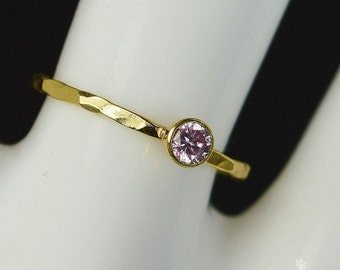 Dainty Solid 14k Gold Pink Tourmaline Ring, 3mm gold solitaire, solitaire ring, real gold, October Birthstone, Mothers RIng, Solid gold band