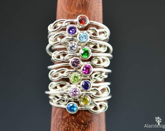 Sterling Silver Infinity Mother's Rings, Infinity Ring, Stacking Mothers Ring, Infinity Knot Ring, Mother's Gemstone Ring, Silver Knot Ring