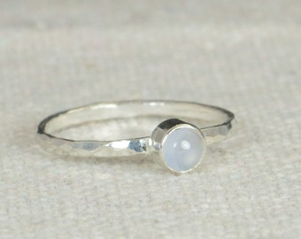 Small Silver Blue Chalcedony  Ring, Sterling Silver Solitaire, Blue Stone Ring, Silver Jewelry, Black Solitaire, Solitaire Ring, Silver Band