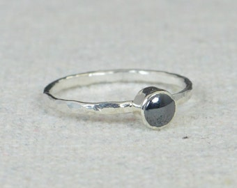 Small Silver Hematite  Ring, Sterling Silver Solitaire, Black Stone Ring, Silver Jewelry, Black Solitaire, Solitaire Ring, Silver Band