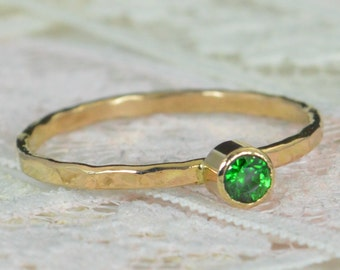 Emerald Engagement Ring, 14k Gold, Emerald Wedding Ring Set, Rustic Wedding Ring Set, Natural Emerald Ring, Solid 14k Emerald Ring