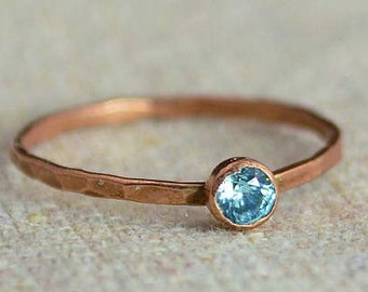 Dainty Copper Aquamarine Ring, Hammered Copper, Stackable Rings, Mother's Ring, March Birthstone, Copper Ring, Copper Aquamarine Ring
