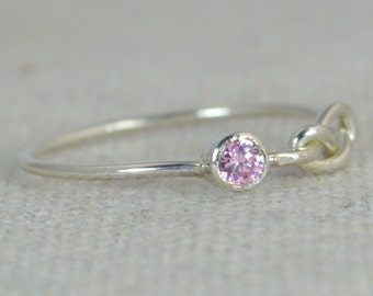 Pink Tourmaline Infinity Ring, Sterling Silver, Stackable Rings, Mother's Ring, October Birthstone Ring, Infinity Ring, Pink Silver Ring