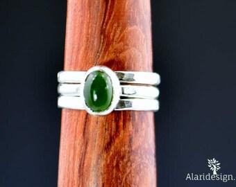 Silver Jade Ring,  Jade Ring, Pure Jade Ring, Jade Jewelry, Green Ring, Natural Jade, Stacking Ring, Gemstone Ring, Nephrite Jade