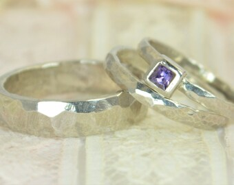 Amethyst Engagement Ring, 14k White Gold, Amethyst Wedding Ring Set, Rustic Wedding Ring Set, February Birthstone, Solid Gold, Amethyst Ring