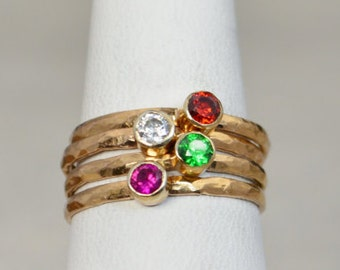 Grab 4 Classic 14k Rose Gold Filled Birthstone Ring, Gold solitaire, solitaire ring, 14k Rose gold filled, Birthstone, Mothers Ring, band