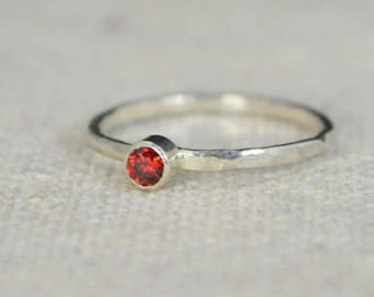 Classic Sterling Silver Garnet Ring, 3mm Silver Solitaire, Red Ring, Silver Jewelry, January Birthstone, Mothers Ring, Silver Band