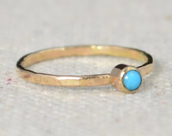 14k Gold Filled Turquoise Ring, 3mm gold solitaire, solitaire ring, 14k Gold, December Birthstone, Mothers RIng, Gold Filled band, gold
