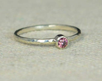 Classic Sterling Silver Alexandrite Ring, 3mm Silver solitaire, Purple Ring, Silver jewelry, June Birthstone, Mothers RIng, Silver band