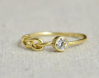 CZ Diamond Infinity Ring, Gold Filled Ring, Stackable Rings, Mother's Ring, April Birthstone Ring, Gold Infinity Ring, Gold Knot Ring