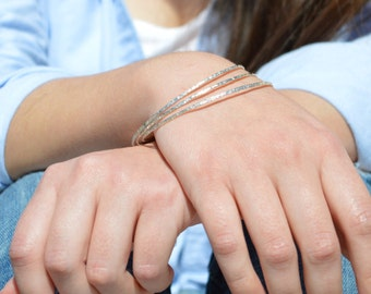Thin Silver Bangle, Raw Silk Bangle, Thin Bangle, Stacking Bangles, Sterling Silver Bangle, silver bracelet, stacking bangle, silver bangle