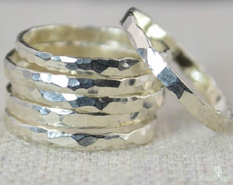 Thick Silver Stackable Ring(s), Pure Silver, Simple Silver Ring, Stacking Rings, Hammered Silver Ring, Plain Silver Band,  Silver