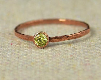 Dainty Copper Topaz Ring, Hammered Copper, Topaz Mother's Ring, Novembers Birthstone Ring, Copper Jewelry, Topaz Ring, Golden Topaz Ring