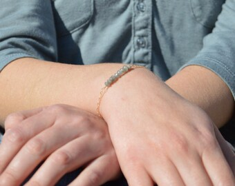 Labradorite Bracelet, Danity Stacking Bracelet, 14k Gold Fill, Sterling Silver, Rose Gold, Gray Bracelet, Bar Bracelet, Labradortie
