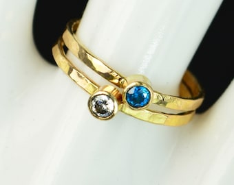Grab 2 Classic 14k Gold Filled Birthstone Rings, Gold solitaire, solitaire ring, 14k gold filled,Birthstone, Mothers Ring, gold band