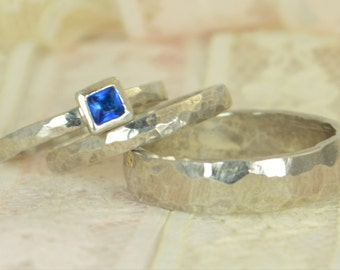 Square Blue Zircon Engagement Ring, 14k White Gold, Blue Zircon Wedding Ring Set, Rustic Wedding Ring Set, December Birthstone, Solid Gold