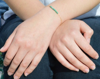 Turquoise  Bracelet, Danity Stacking Bracelet, 14k Gold Fill, Sterling Silver, Rose Gold, Green Bracelet,  Bar Bracelet, Gold Bracelet