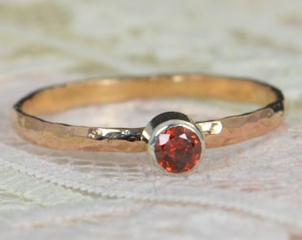 Garnet Engagement Ring, 14k Rose Gold, Garnet Wedding Ring Set, Rustic Wedding Ring Set, January Birthstone, Solid 14k Garnet Ring