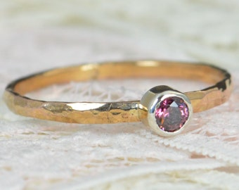 Alexandrite Engagement Ring,14k Rose Gold, Alexandrite Wedding Ring Set, Rustic Wedding Ring Set, June Birthstone,Solid 14k Alexandrite Ring