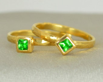 Square Emerald Ring, Emerald Gold Ring, May's Birthstone, Square Stone Mother's Ring, Square Stone Ring, Emerald Ring