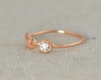CZ Diamond Infinity Ring, Rose Gold Filled, Diamond Ring, Solitaire, Stackable Rings, Mother's Ring, Rose Gold Ring, Rose Gold Knot Ring