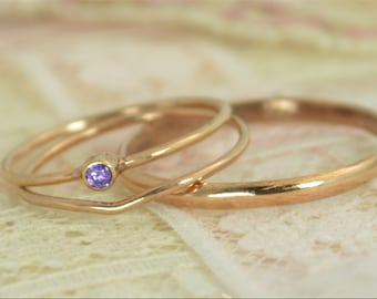 Tiny Amethyst Ring Set, Solid 14k Rose Gold Wedding Set, Amethyst Stacking Ring, 14k Gold Amethyst Ring, Bridal Set, February Birthstone