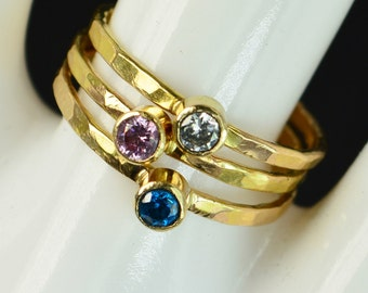 Grab 3 Classic 14k Gold Filled Birthstone Rings, Gold solitaire, solitaire ring, 14k gold filled,Birthstone, Mothers Ring, gold band