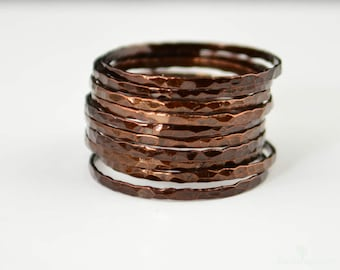 Super Thin Chocolate Copper Stackable Ring(s), Brown Ring, Skinny Ring, Copper Band, Brown Copper Ring, Hammered Copper Ring, Arthritis Ring