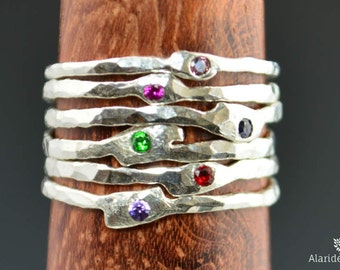 Grab 6-Thin Freeform Mother's Rings, Birthstone Ring, Stacking Rings, Silver Birthstone Rings, Mother's Gemstone Ring, Pure Silver Rings