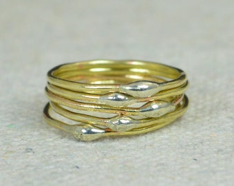 Unique Brass Stacking Ring(s), Bimetal Ring, Hippie Ring, Boho Rings, unique rings for her, Dew Drop Rings, Thin Ring, bohemian rings