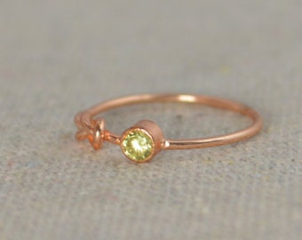 Peridot Infinity Ring, Rose Gold Filled Ring, Stackable Rings, Mother's Ring, August Birthstone Ring, Rose Gold Ring, Rose Gold Knot Ring