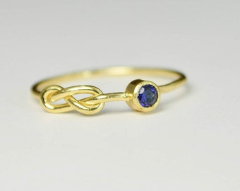 14k Gold Sapphire Infinity Ring, 14k Gold Ring, Stackable Rings, Mothers Ring, September Birthstone Ring, Gold Infinity Ring, Gold Knot Ring