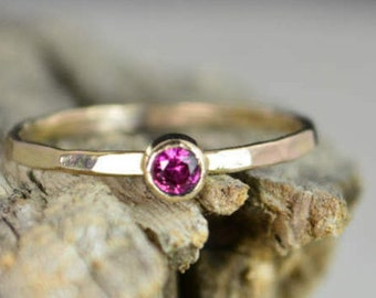 Classic Solid 14k Gold Ruby Ring, 3mm gold solitaire, solitaire ring, real gold, July Birthstone, Mothers Ring, Solid gold band, gold