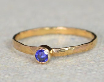 Classic Rose Gold Filled Sapphire Ring, solitaire, solitaire ring, rose gold filled, September Birthstone, Mothers Ring, gold band, band