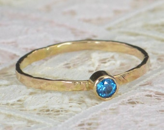 Blue Zircon Engagement Ring,14k Gold, Blue Zircon Wedding Ring Set, Rustic Wedding Ring Set, December Birthstone, Solid 14k Blue Zircon Ring